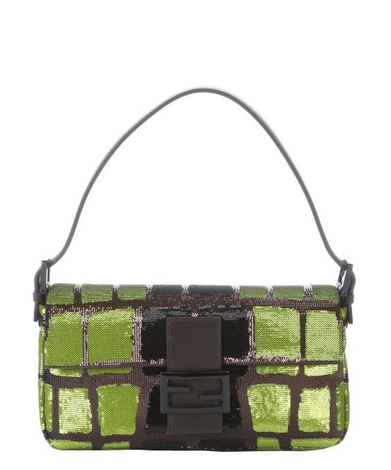 Fendi green and black sequined leather baguette shoulder bag