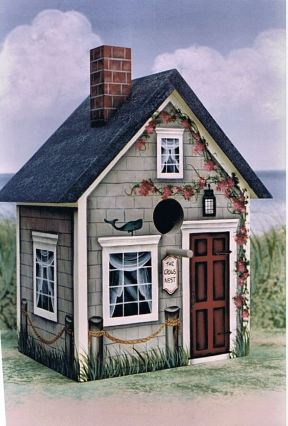 tole painted birdhouses - Google Search                                                                                                                                                     More