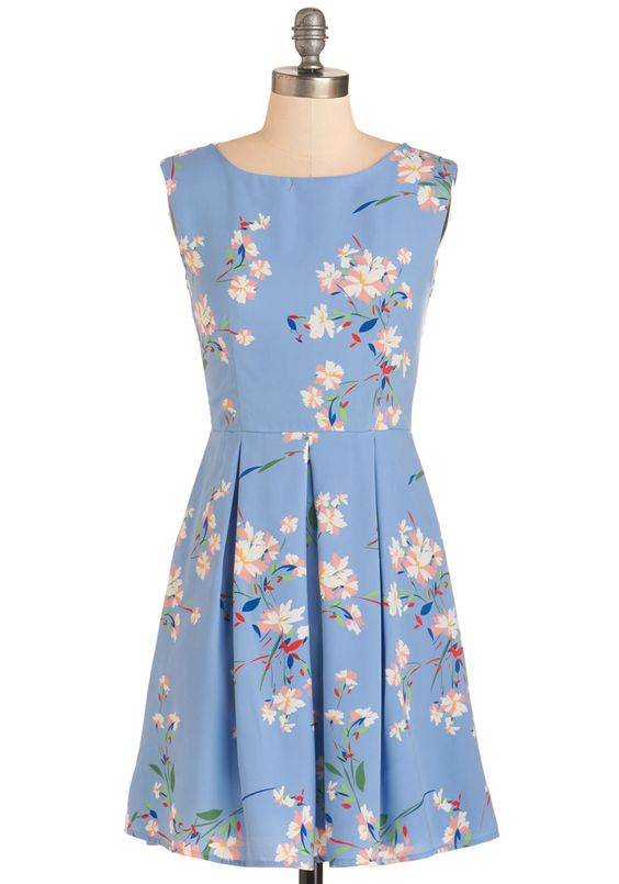 Put Your Mind at Breeze Dress - Mid-length, Woven, Blue, Floral, Daytime Party, Sleeveless, Spring, Multi, Print, Pastel, A-line