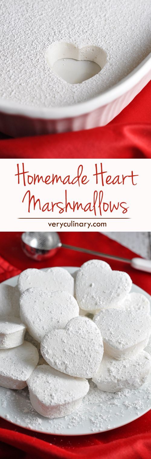 Rich and creamy homemade marshmallows shaped like hearts for Valentine's Day!: