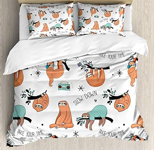 Zomoy Family Comfort Bed Sheet Sloth Pattern With Cute Hand Drawn Sloths On Branches Laziness Mood Quotes Fun Orange Duvet Cover Sets Bedding Sets Duvet Covers