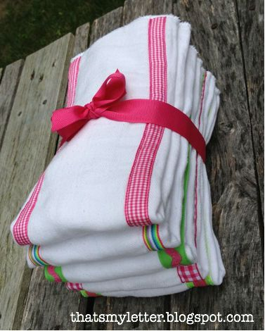 DIY super cute burp clothes - good for addition to baby shower gift!