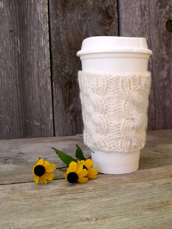 A personal favorite from my Etsy shop https://www.etsy.com/listing/183666372/coffee-sleeve-coffee-cozy-cable-knit