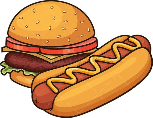 Hot Dog And Hamburger Cartoon Vector Clipart Friendlystock Hot Dogs Cartoon Burger Cartoon