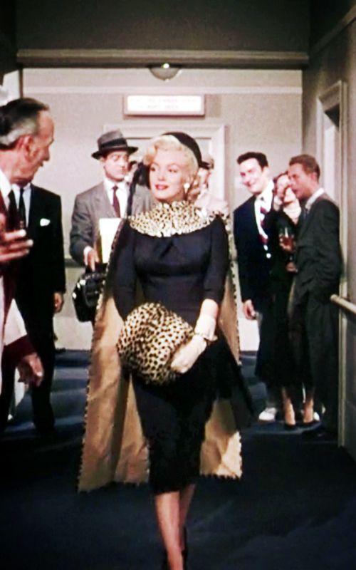 """Marilyn Monroe- in black & a little leopard (""""Gentlemen Prefer Blondes,"""" 1953)"""