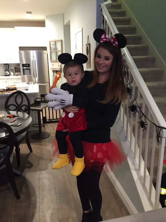 Mickey Mouse Halloweencostume DIY, mommy and baby costume, DIY Mickey and Minnie Mouse costumes