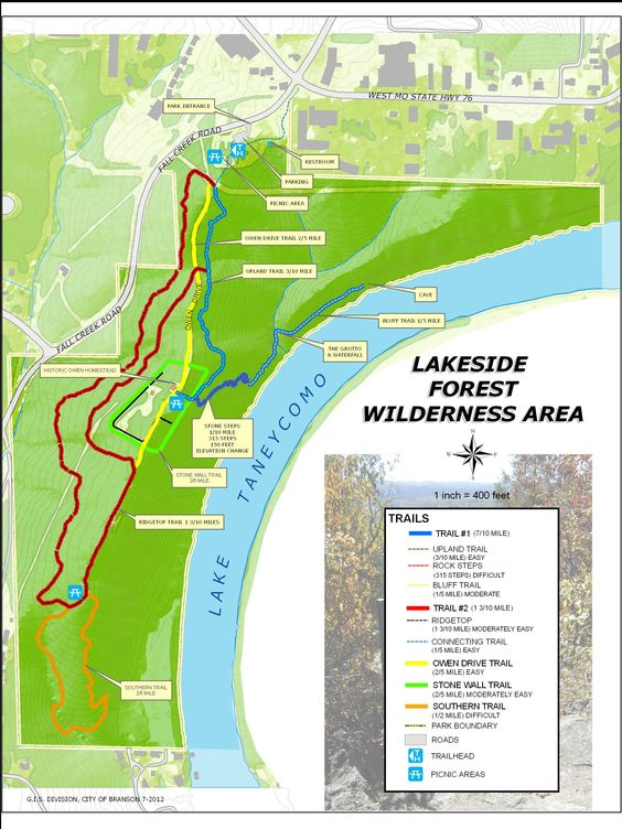 Lakeside Forest Trail Map Branson Mo Vacation Table Rock
