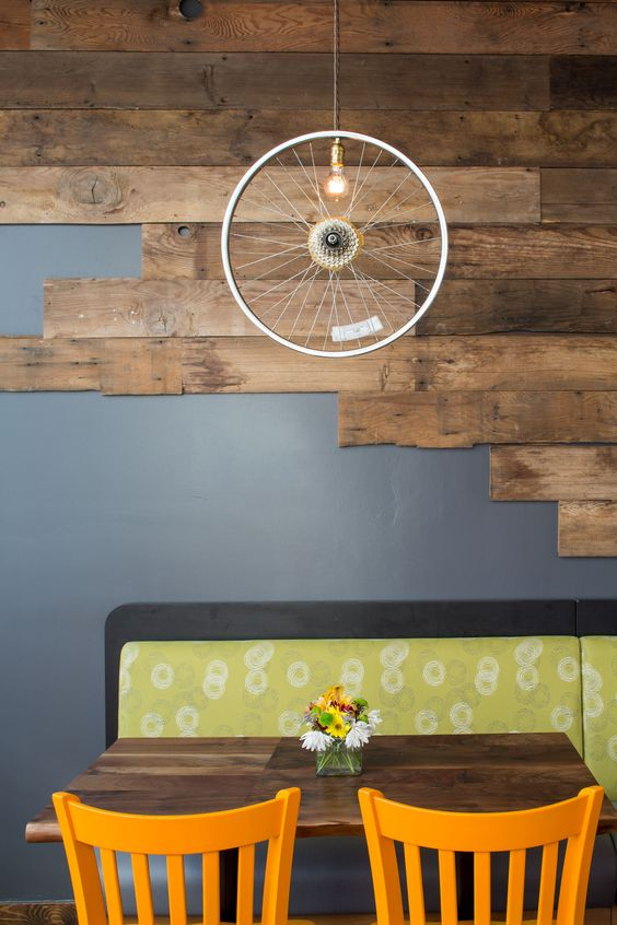 Reclaimed Wood Accent Wall and Bicycle Light at Boise Fry Company