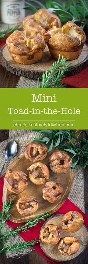 Mini toad-in-the hole - A delicious twist on my classic Yorkshire pudding recipe with a chipolata sausage hiding in each one. The perfect size for your little ones and grown-ups will love them too.