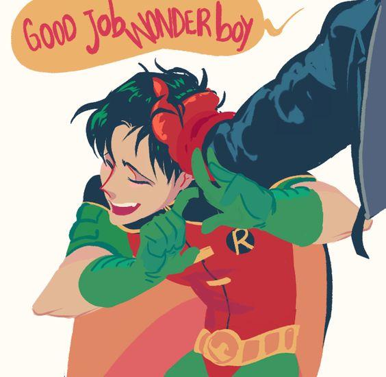 A happy Tim. Tim Drake. Robin.