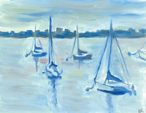 Sailboat greeting cards, Boston Harbor