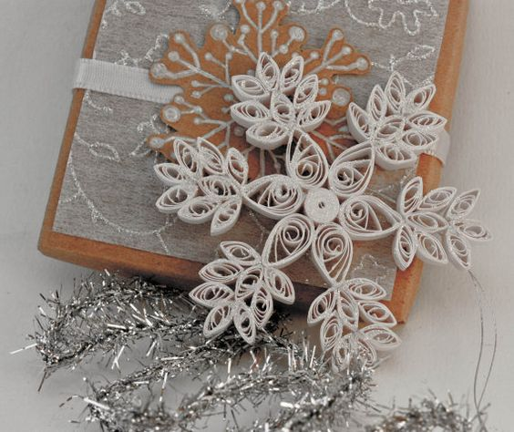 Quilled snowflake Christmas ornament - white with glitter snow- with decorated…