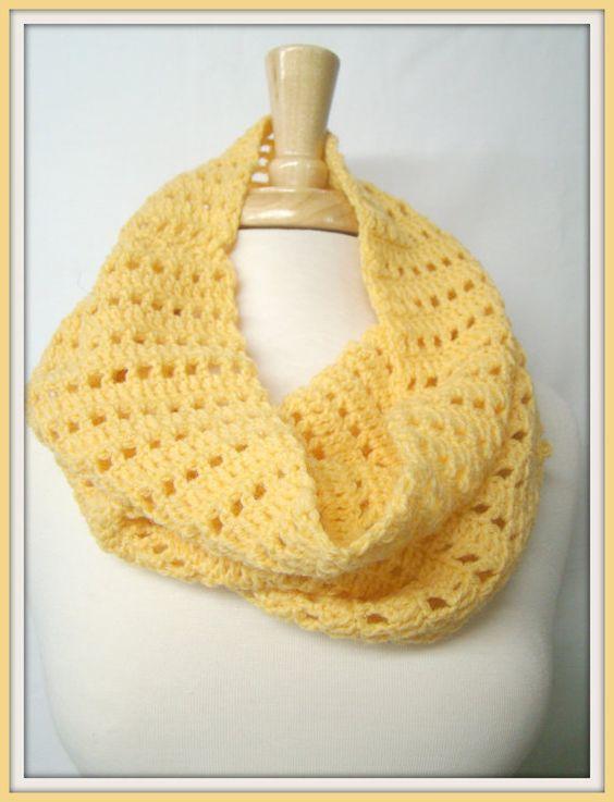 Yellow Open Weave Cowl Crochet Neck Warmer Winter by HookMadness