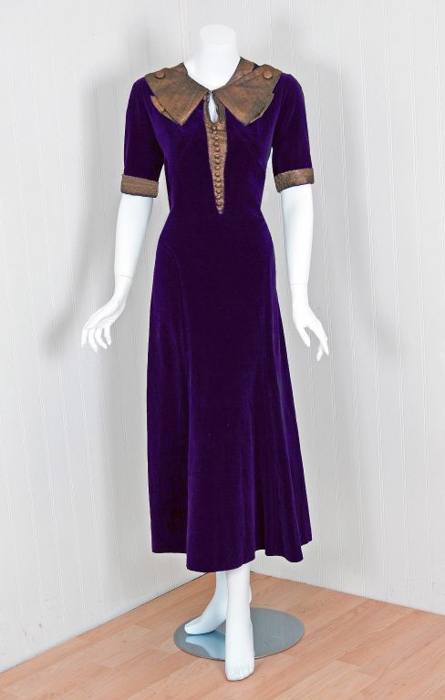 1930's Paquin Haute-Couture Purple-Velvet Lame Tea Dress image 2