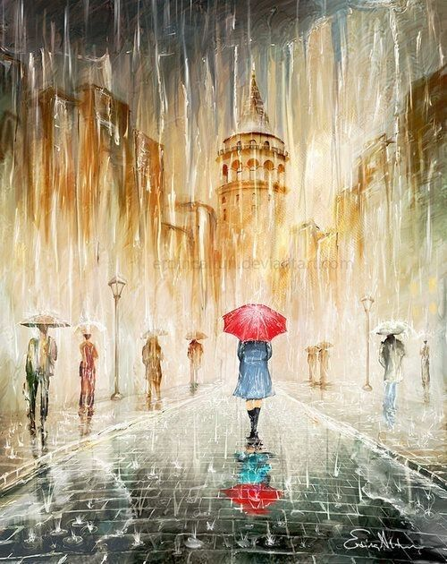Caminar Bajo La Lluvia Pintura De Lluvia Pintura Silueta Pintando Retratos