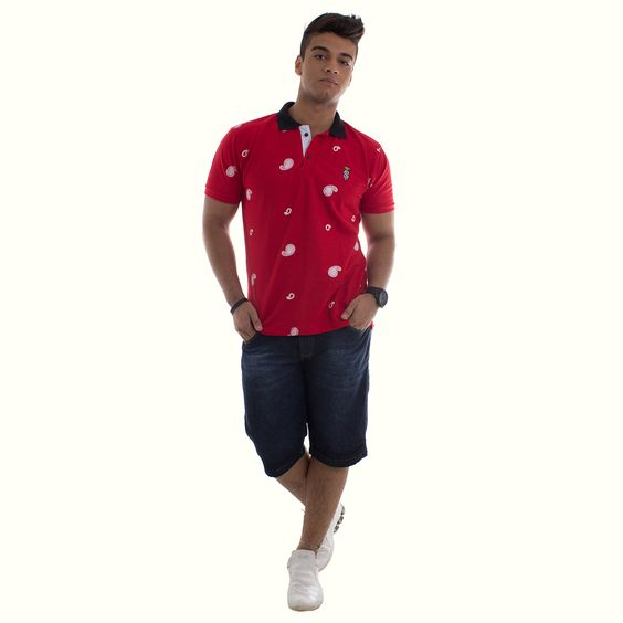 Camisa Polo STN Vermelha REF:0553 -Bermuda Jeans Biotipo REF:534