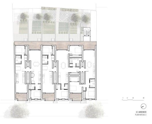 Gallery Of Multiresidential Construction Le Jardinier Adhoc Architects 19 Architect Architecture Plan Site Plan Drawing