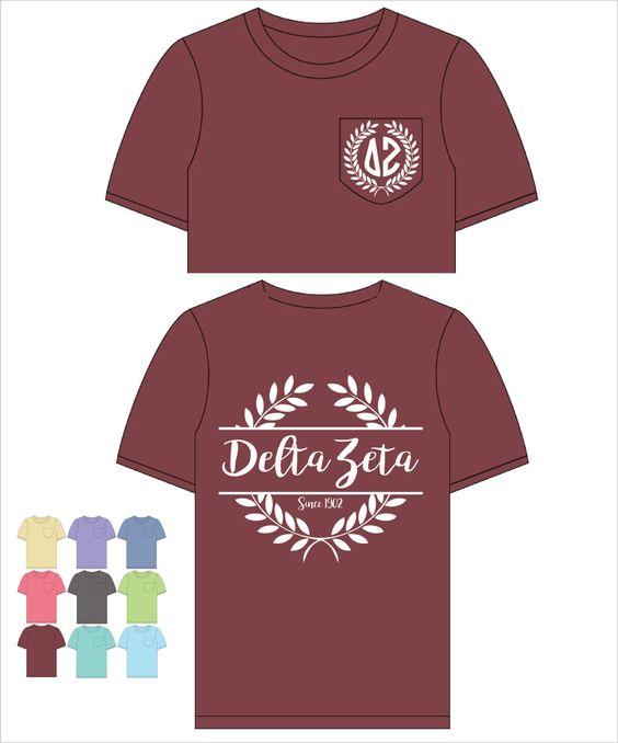 Delta Zeta // DZ // Sorority Comfort Color Pocket Tee (Nobilis)  Short Sleeve…
