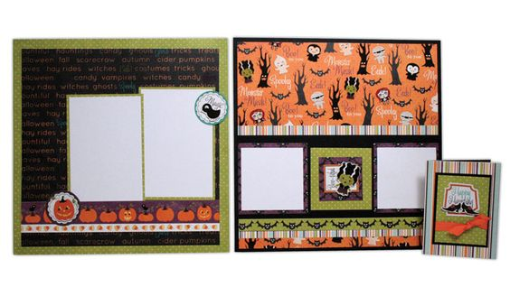 Layout and card ideas using the Imaginisce Halloween line. More layout ideas can be found here: https://www.facebook.com/media/set/?set=a.10150462328830849.360411.111565350848=1