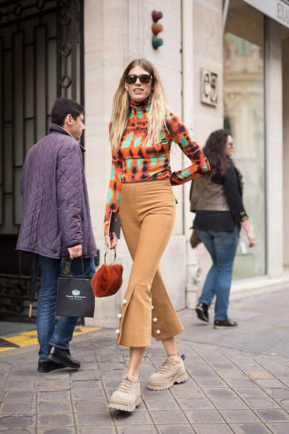 Veronika Heilbrunner is seen attending Undercover during Paris Fashion Week wearing Undercover on September 29 2017 in Paris France