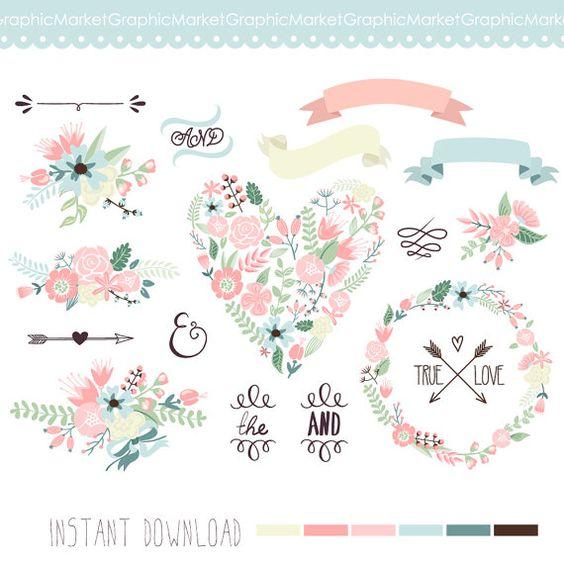 Boda Floral clipart guirnalda Digital Marcos por GraphicMarket