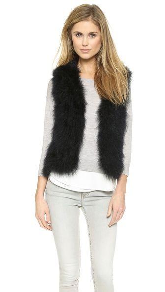 Navy faux fur vest.