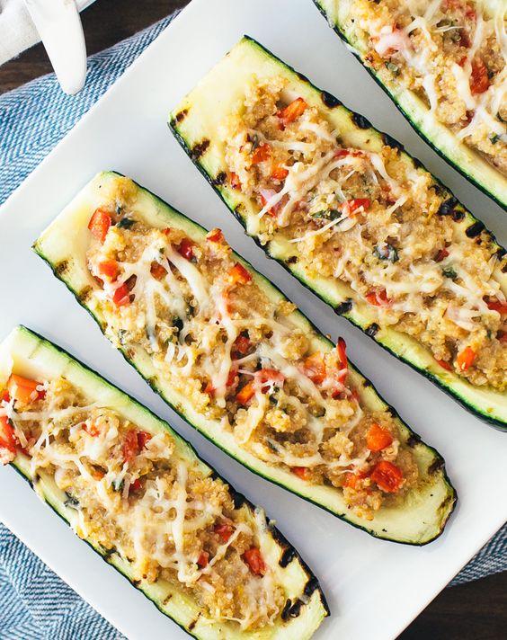 Quinoa Stuffed Grilled Zucchini | A Couple Cooks