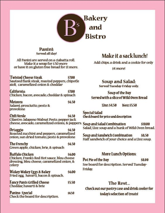 B's Bakery and Bistro: Menu | Business Dreams | Pinterest ...
