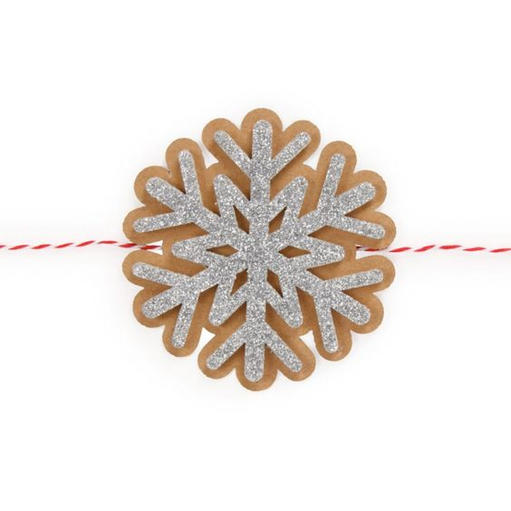 Silver glitter snowflake present topper