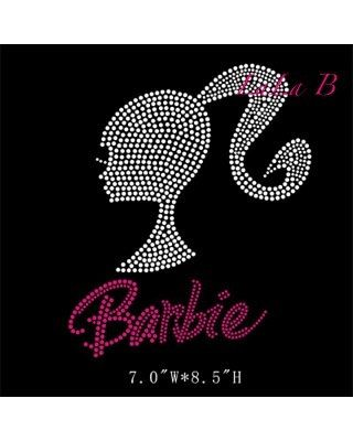 Barbie rhinestone iron on hot fix transfer - Barbie heat transfer appliqué for shirts by LaLaBoutiqueBling on Etsy