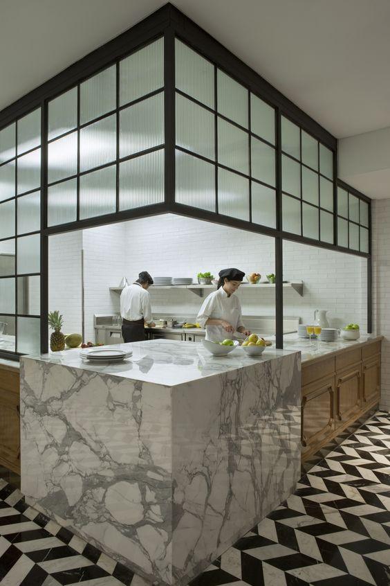 Residential kitchen inspired. Marble counters | stunning chevron marble floor. Four Seasons Elena Restaurant EDG