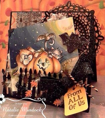 ONECRAZYSTAMPER.COM: From all of us -- Halloween Fun! by Natalie using High Hopes Stamps new release Pumpkin Buddies (TT020) & From All of Us (HH004)