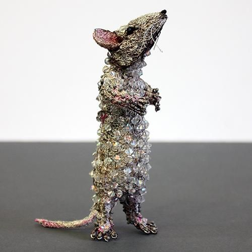 standing white mouse mini sculpture by susan horth