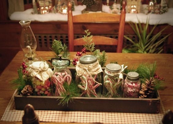 Jars, Primitive christmas decorating and Primitives on Pinterest