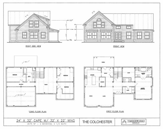 Bedroom Barn House Plans   Cape   x wing  SqFt    Purchase complete drawing packages for timber frame home construction  Build the post  amp  beam you    ve always dreamed of  Bedroom Barn House Plans