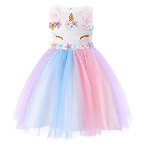Girls Unicorn Dress for Kid Pageant Party Ball Prom Wedding Princess Tulle Skirt