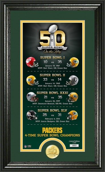 Green Bay Packers Super Bowl 50th Anniversary Bronze Coin Photo Mint celebrating their 4 Super Bowl wins matted and framed