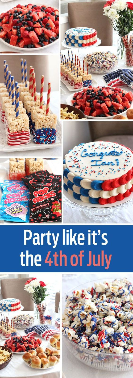 Throw a great party for the 4th of July or Memorial Day with these themed ideas for food and treats!: