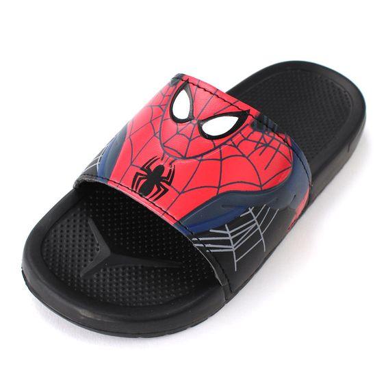Spider-Man Boys Black Slide Sandals Shoes SPS143 11 12 13 1 2 3 Marvel #Marvel #Sandals