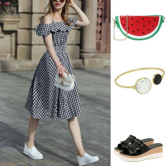 Vichy dress - Temporada: Primavera-Verano - Tags: fashion, look, shopping, bloggers, ootd, dress - Descripción: look tendencia con vestido cuadros vichy: