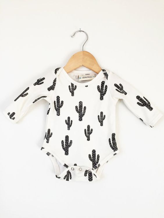 Organic baby onesie in cactus print, baby onesie, long sleeve bodysuit, organic baby clothes, baby clothes