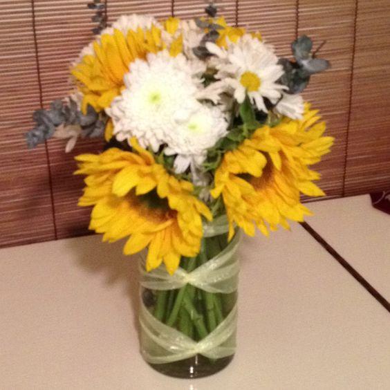 Sunflower arrangement for baby shower