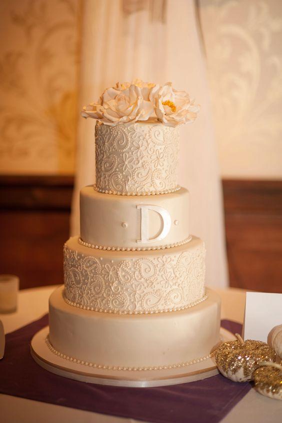 fondant wedding cake, ivory wedding cake, lace piping, paisley wedding cake, initial wedding cake, classic wedding cake, elegant wedding cake