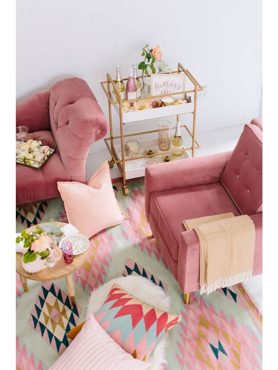 "AVIVA VELVET CHAIR, ROSE $610.00 pink velvet chair 32""W x 32""D x 35""H Sources, chairs, pink palette, furniture, pink color palette, shopping, splurge/save, products,"