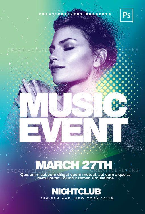 music event flyer psd template