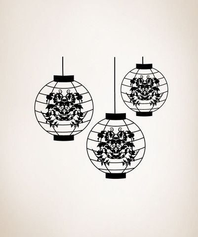 Vinyl Wall Decal Sticker Japanese Lanterns #OS_MG298