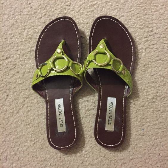 Steve Madden Leather Sandals Very cute sandals and super comfortable - not very worn. There are some sticker marks near the Steve Madden label but it is not sticky. Steve Madden Shoes Sandals