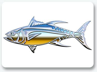 Chrome tuna stickfish graphics order a set for your own for Fishing boat decals