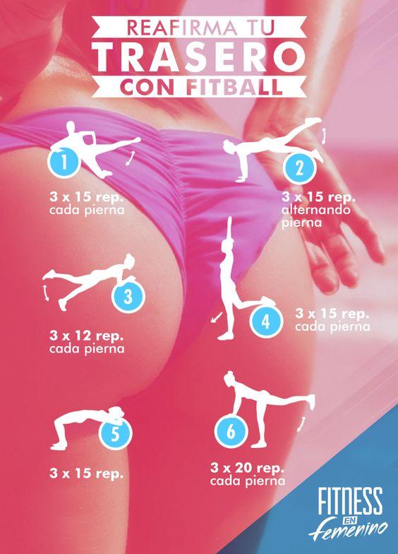 Reafirma tu trasero con fitball. Fitness en Femenino.
