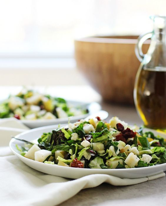Brussels Sprouts, Kale, and Chard Salad Recipe with Blue Cheese and Pears